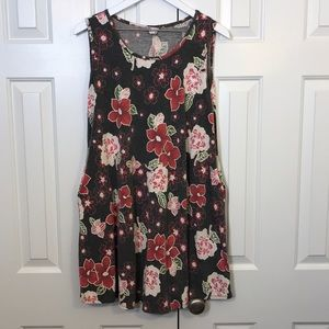 Tops - Beautiful Floral Sleeveless Tunic Top